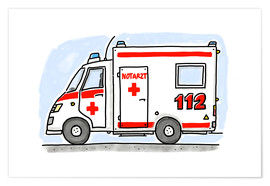Poster Premium  Hugos ambulance - Hugos Illustrations