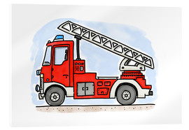 Vetro acrilico  Hugos fire department cart - Hugos Illustrations