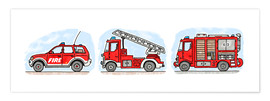 Poster  Hugos fire department set - Hugos Illustrations