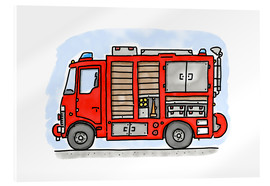 Stampa su vetro acrilico  Hugos fire department emergency vehicle - Hugos Illustrations