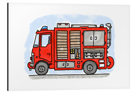 Alluminio Dibond  Hugos fire department emergency vehicle - Hugos Illustrations