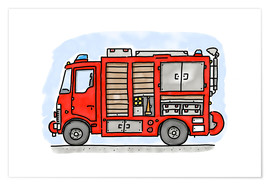 Poster Premium  Hugos fire department emergency vehicle - Hugos Illustrations