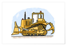 Poster  Hugos bulldozer - Hugos Illustrations