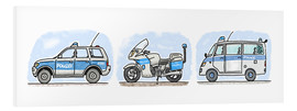 Stampa su schiuma dura  Hugos police set of 3 - Hugos Illustrations