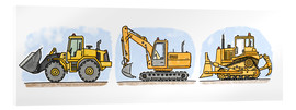 Vetro acrilico  Hugos construction site 3-piece set - Hugos Illustrations