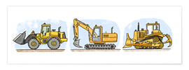 Poster  Hugos construction site 3-piece set - Hugos Illustrations