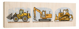 Stampa su legno  Hugos construction site 3-piece set - Hugos Illustrations