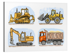 Alluminio Dibond  Hugos construction site set of 4 - Hugos Illustrations