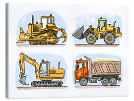 Tela  Hugos construction site set of 4 - Hugos Illustrations