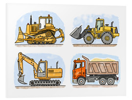 Stampa su PVC  Cantiere di Hugo, set di 4 - Hugos Illustrations