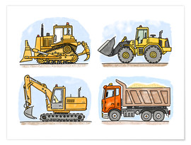 Poster  Hugos construction site set of 4 - Hugos Illustrations