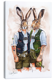 Stampa su tela  Gay Rabbits - Peter Guest