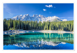 Poster Premium Lago di Carezza in South Tyrol with Latemar mountains