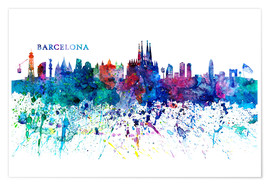 Poster Premium  Skyline BARCELONA Colorful Silhouette - M. Bleichner