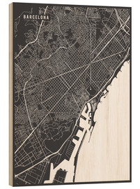 Stampa su legno  Barcelona Spain Map - Main Street Maps
