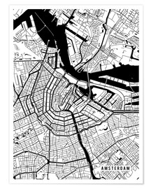 Poster Premium Amsterdam Netherlands Map