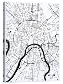 Stampa su tela  Moscow Russia Map - Main Street Maps