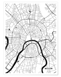 Poster  Moscow Russia Map - Main Street Maps
