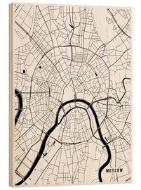 Stampa su legno  Moscow Russia Map - Main Street Maps
