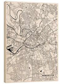 Stampa su legno  Manchester England Map - Main Street Maps