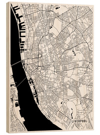 Stampa su legno  Liverpool England Map - Main Street Maps