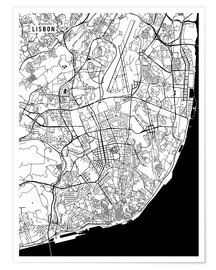 Poster  Lisbon Portugal Map - Main Street Maps