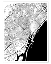 Poster Premium  Barcelona Spain Map - Main Street Maps