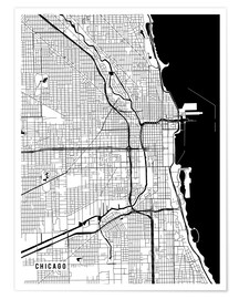 Poster Premium  Chicago USA Map - Main Street Maps