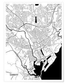 Poster  Cardiff England Map - Main Street Maps