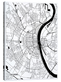 Stampa su tela  Cologne Germany Map - Main Street Maps