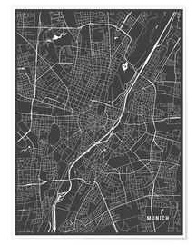 Poster Premium  Munich Germany Map - Main Street Maps