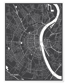Poster Premium  Cologne Germany Map - Main Street Maps