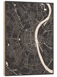 Stampa su legno  Cologne Germany Map - Main Street Maps
