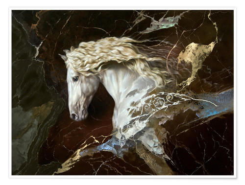 Poster Premium horse on marble