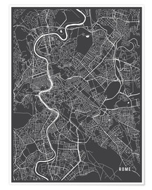 Poster Premium  Rome Italy Map - Main Street Maps