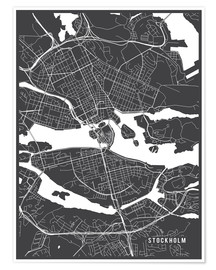 Poster Premium  Stockholm Sweden Map - Main Street Maps