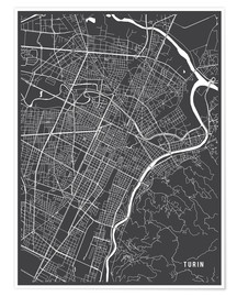 Poster Premium Turin Italy Map