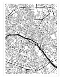 Poster  Paris France Map - Main Street Maps