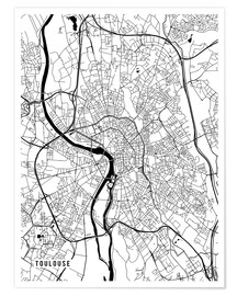 Poster Premium Toulouse France Map