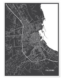Poster Premium Palermo Italy Map