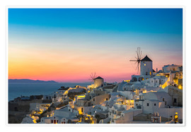 Poster Premium Santorini Windmill at sunset