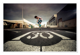Poster  Spain, Tenerife, boy skating on a road - Westend61