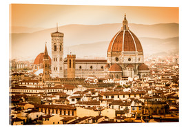 Vetro acrilico  Cityscape with Cathedral and Brunelleschi Dome, Florence - Cubo Images