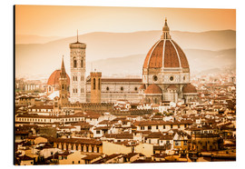 Stampa su alluminio  Cityscape with Cathedral and Brunelleschi Dome, Florence - Cubo Images