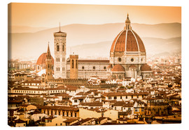 Stampa su tela  Cityscape with Cathedral and Brunelleschi Dome, Florence - Cubo Images