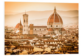 Stampa su schiuma dura  Cityscape with Cathedral and Brunelleschi Dome, Florence - Cubo Images