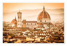 Poster Premium Cityscape with Cathedral and Brunelleschi Dome, Florence