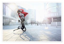 Poster Premium BMX Biker doing stunt in urban area