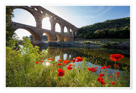 Poster Premium France, Gard, the Pont du Gard listed as World Heritage by UNESCO, Big Site of France, Roman aqueduc