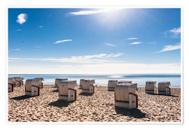 Poster Premium Germany, Schleswig-Holstein, Bay of Luebeck, hooded beach chairs on the beach